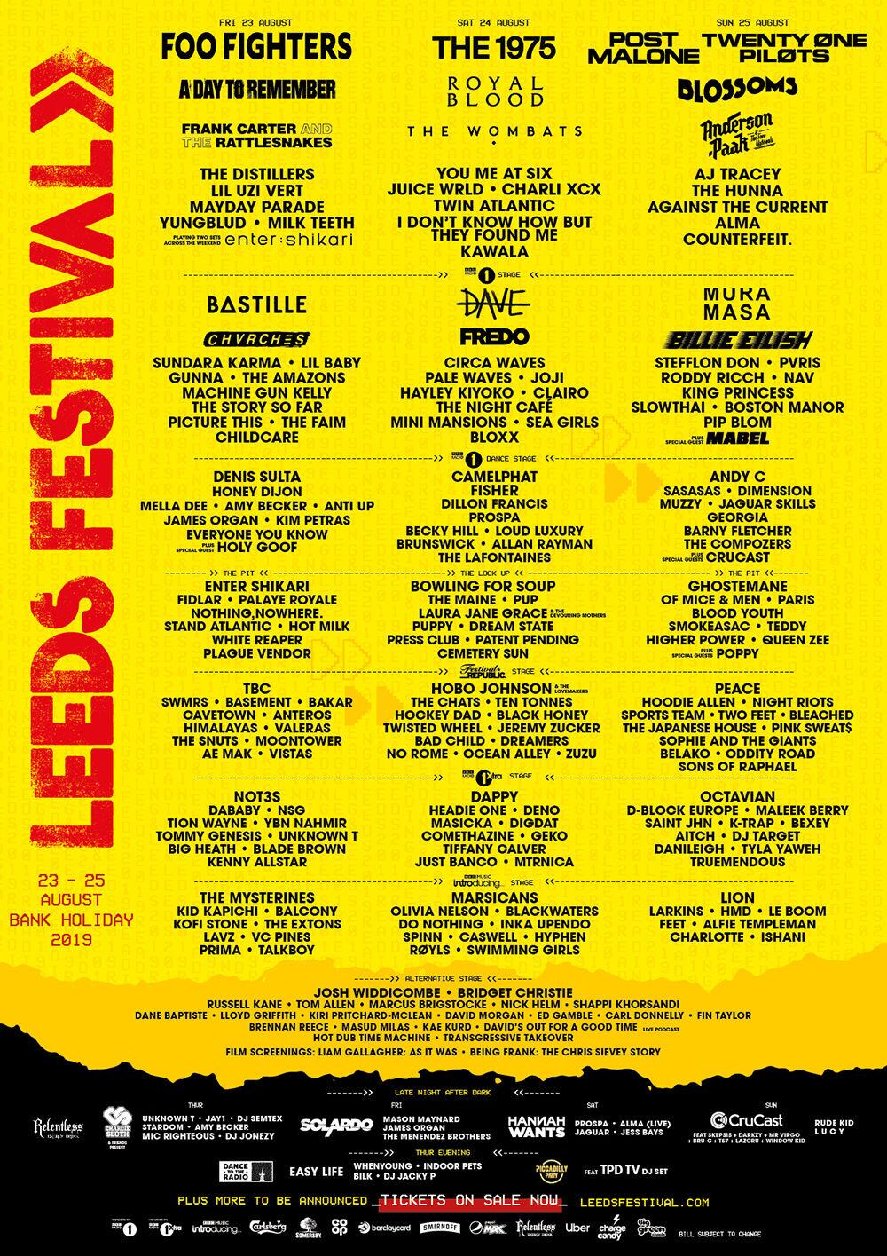 Leeds Festival 2019 Line up