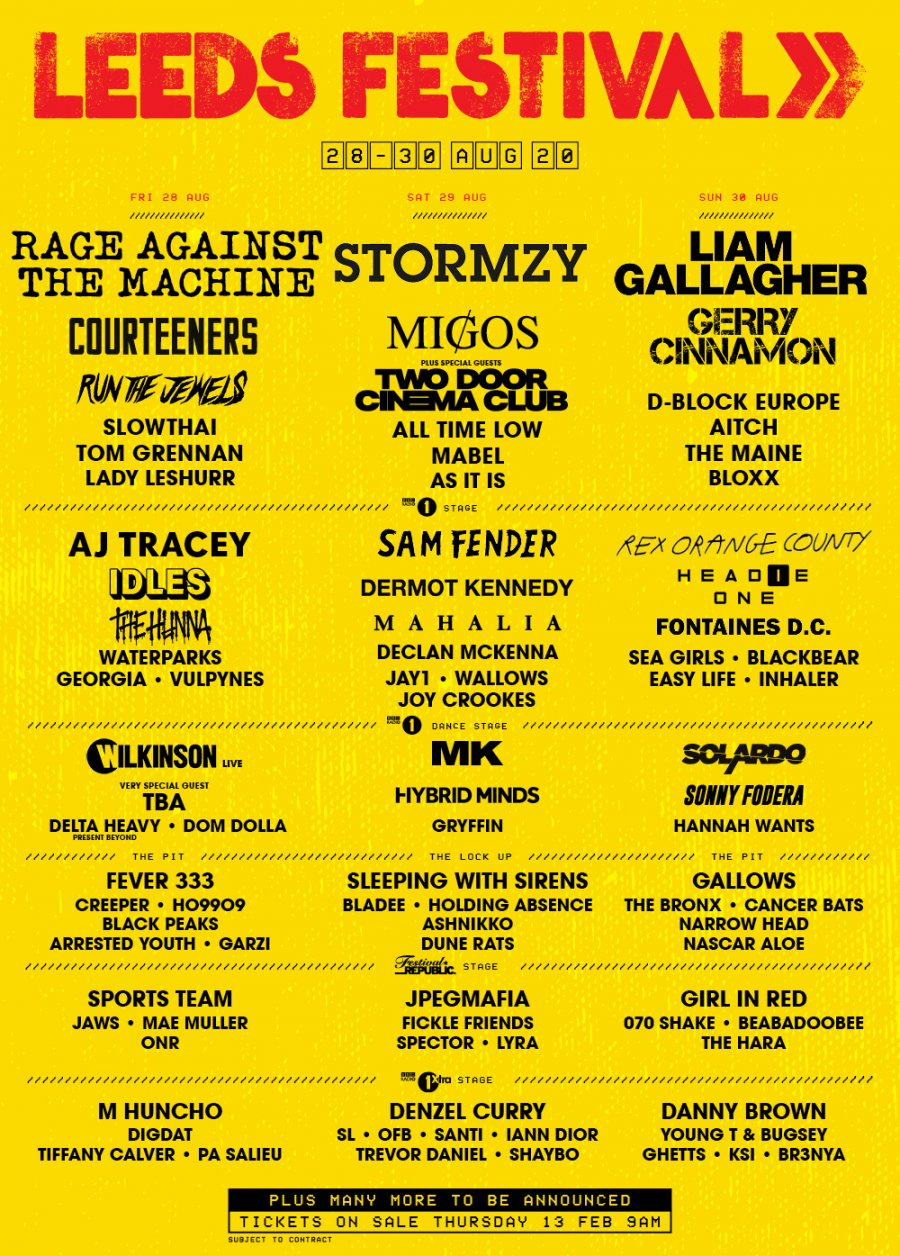 Leeds Festival lineup 2020